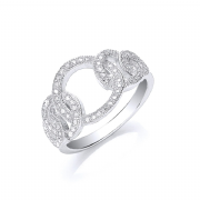 Sterling silver Cubic Zirconia interlinked circles ring